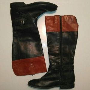 Marc Fisher two tone wide shaft boots